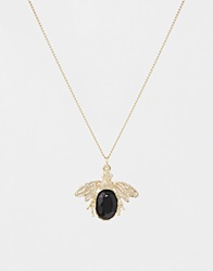 And Mary Gold Plate Necklace With Bee Charm Goldplate
