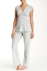 Majamas Genna Maternity Nursing Pajama Set Gray