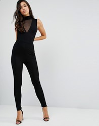 Asos Jersey Jumpsuit With High Neck And Mesh V Inserts Black