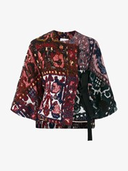 Chloe Cropped Sleeved Tapestry Print Jacket Red Blue Multi Coloured Navy White