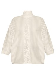 A.W.A.K.E. High Neck Lace Panel Striped Top White