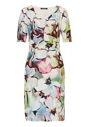 Betty Barclay Ruched Floral Print Dress Multi Coloured