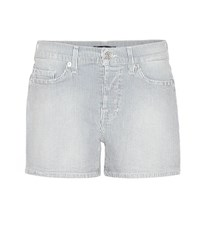 7 For All Mankind Striped Denim Shorts White
