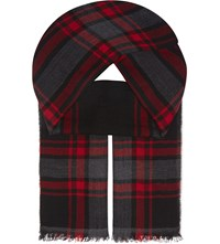 The Kooples Check Print Wool Scarf Black Red