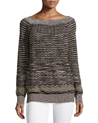 M Missoni Zigzag Boat Neck Sweater Black White