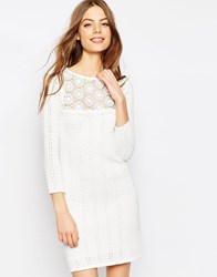 Asos Crochet Stitch Dress With Lace Detail Cream
