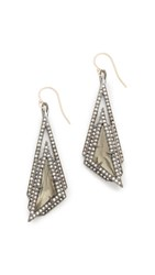 Alexis Bittar Stepped Fancy Pyramid Earrings Pyrite Clear