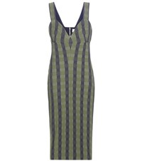 Victoria Beckham Striped Dress Green