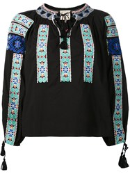 Sea Embroidered Peasant Top Black