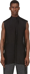 Thamanyah Black Sleeveless Semisheer Button Down Shirt