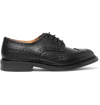 Tricker's Ilkley Pebble Grain Leather Wingtip Brogues Black