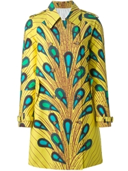 Stella Jean 'Balena' Print Trench Coat Yellow And Orange