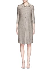 St. John Beaded Bauble Knit Topper Coat Grey Metallic