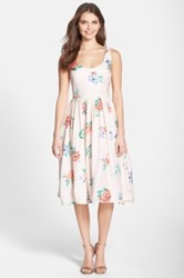 Bb Dakota 'Heleen' Floral Print Fit And Flare Midi Dress Pink