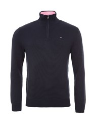 Eden Park Cotton Sweater With Zip Up Detail Navy