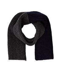Marni Assymmetrical Color Detail Rib Scarf Dark Grey Blue Navy Scarves Black