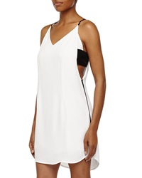 Madison Marcus Side Cutout V Neck Dress White Black