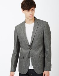 The Idle Man Tweed Blazer In Slim Fit Grey
