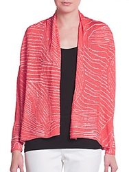 Lafayette 148 New York Cropped Leaf Print Cardigan Pink