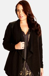 Plus Size Women's City Chic Faux Leather Shoulder Cardigan Black