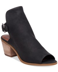 Lucky Brand Women's Bray Buckle Slingback Peep Toe Booties Women's Shoes Black