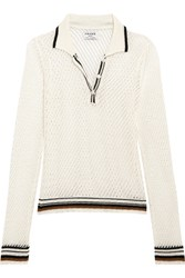 Frame Le Polo Open Knit Linen Blend Top Ivory