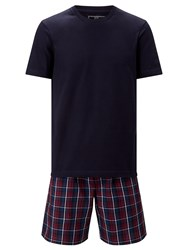 John Lewis Guildford T Shirt And Check Shorts Lounge Set Navy Red