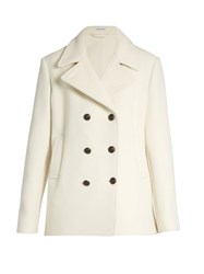 Tomas Maier Double Breasted Wool Blend Pea Coat Ivory