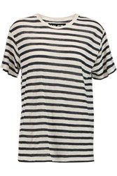 Nlst Striped Cotton And Cashmere Blend T Shirt White