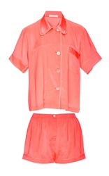Araks Silk Coral Shirt And Shorts Pajama Set Pink