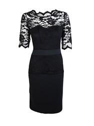 Feverfish Lace Scallop Scuba Dress Black