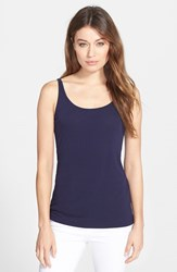 Petite Women's Eileen Fisher Long Scoop Neck Camisole Midnight