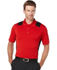 Pga Tour Big And Tall Airflux Colorblocked Performance Golf Polo Chili Pepper