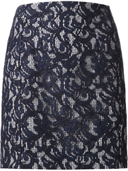 Carven Lace And Gingham Check Skirt Blue
