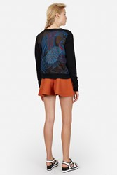 Opening Ceremony Embroidered Back Cardigan Black