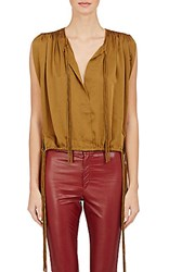 Isabel Marant Atoile Women's Washed Satin Hervey Top Brown Gold Dark Brown