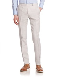 J. Lindeberg Structured Linen Dress Pants Light Grey