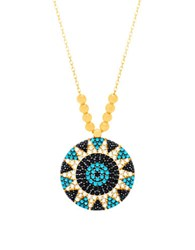 Lord And Taylor Beaded Flower Pendant Necklace Blue