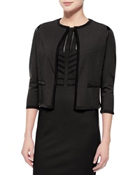Escada Shimmery Knit Open Front Cardigan Black