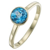 A B Davis 9Ct Yellow Gold Round Gemstone Rubover Ring Topaz
