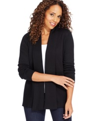 Karen Scott Luxsoft Long Sleeve Cable Knit Cardigan Luxsoft Black