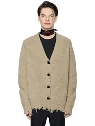 Msgm Oversized Distressed Wool Knit Cardigan