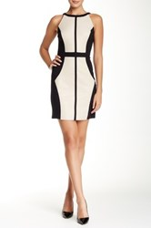 Vakko Sleeveless Pleather And Ponte Pieced Sheath Dress Beige