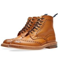 Trickers End. X Tricker's Stow Brogue Boot Tan Burnished Leather