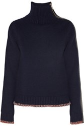 Rag And Bone Sarah Zip Embellished Cashmere Wool Blend Turtleneck Sweater Midnight Blue