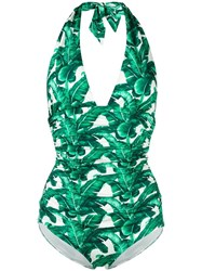 Dolce And Gabbana Banana Leaf Print Swimsuit White