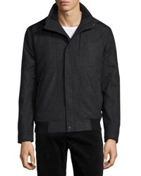 T Tahari Waterproof Tweed Wool Bomber Charcoal