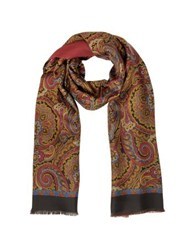 Forzieri Paisley Print Silk And Modal Reversible Men's Scarf Brown