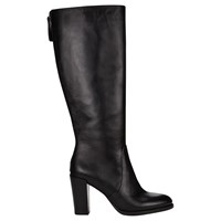 Jigsaw Collette Block Heeled Knee High Boots Black Leather