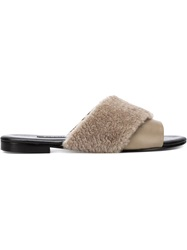 Newbark Shearling Trim Sandals Grey